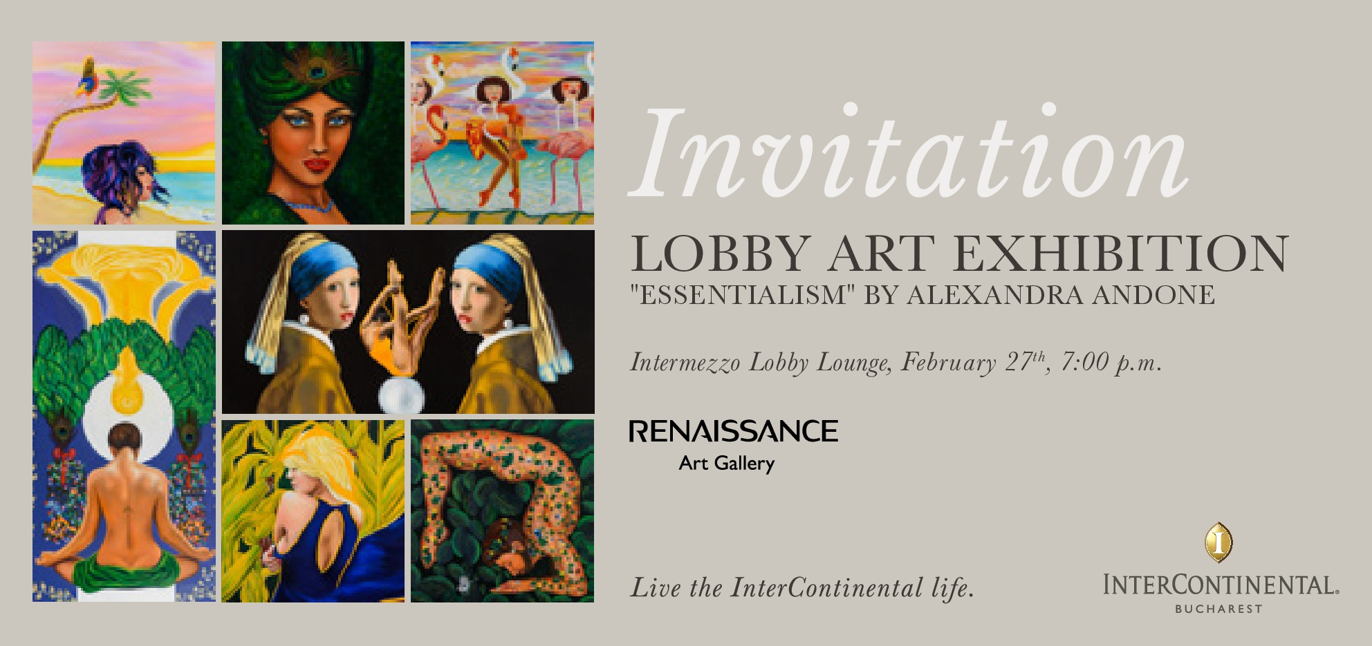 Essentialism by ALEXANDRA ANDONE, Painting Exhibition 27 FEBRUARY – 7 APRIL 2019 Intercontinental Hotel, Bucharest, Romania